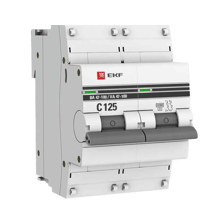 Автоматический выключатель 2P 125А (D) 10kA ВА 47-100 EKF PROxima