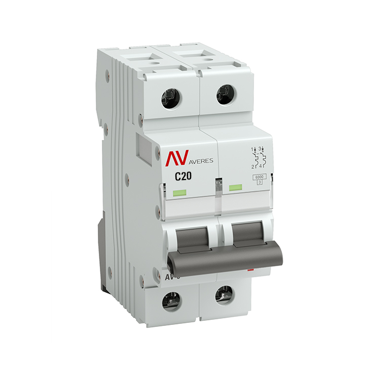 Выключатель автоматический AV-10 2P 20A (C) 10kA EKF AVERES