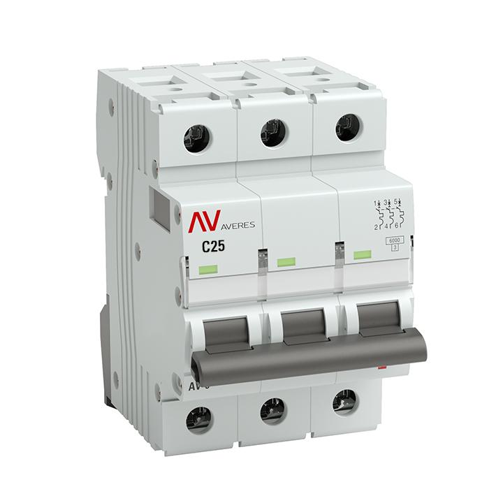 Выключатель автоматический AV-10 3P 25A (C) 10kA EKF AVERES