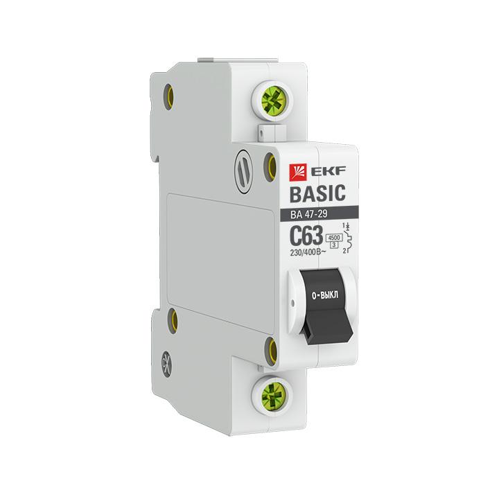 Автоматический выключатель 1P  6А (B) 4,5кА ВА 47-29 EKF Basic