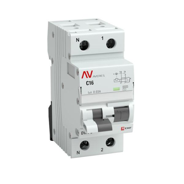 Дифференциальный автомат DVA-6 1P+N 32А (B) 100мА (AC) 6кА EKF AVERES