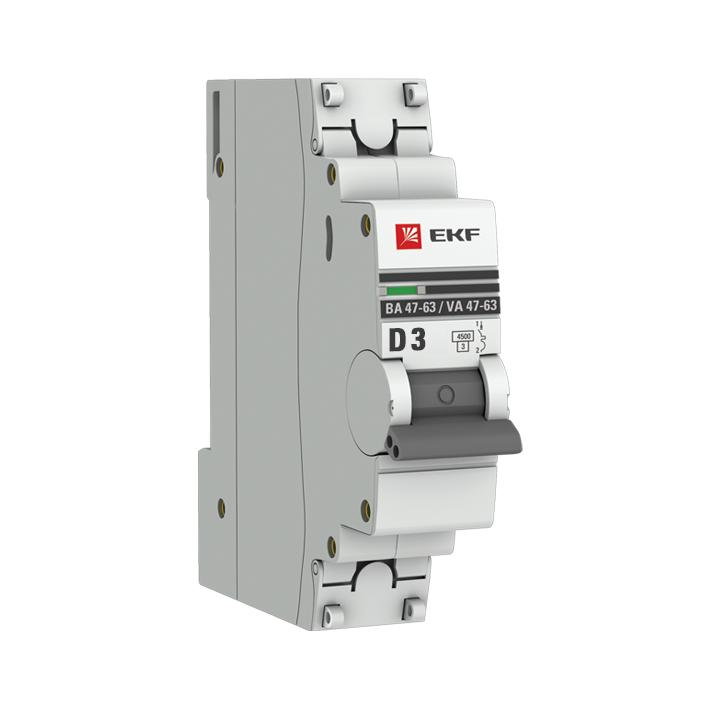 Автоматический выключатель 1P  3А (D) 4,5kA ВА 47-63 EKF PROxima