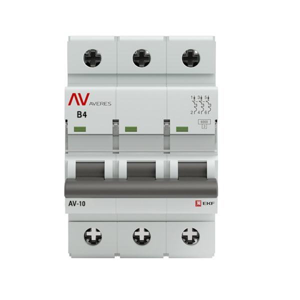 Выключатель автоматический AV-10 3P  4A (B) 10kA EKF AVERES