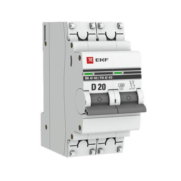 Автоматический выключатель 2P 20А (D) 4,5kA ВА 47-63 EKF PROxima