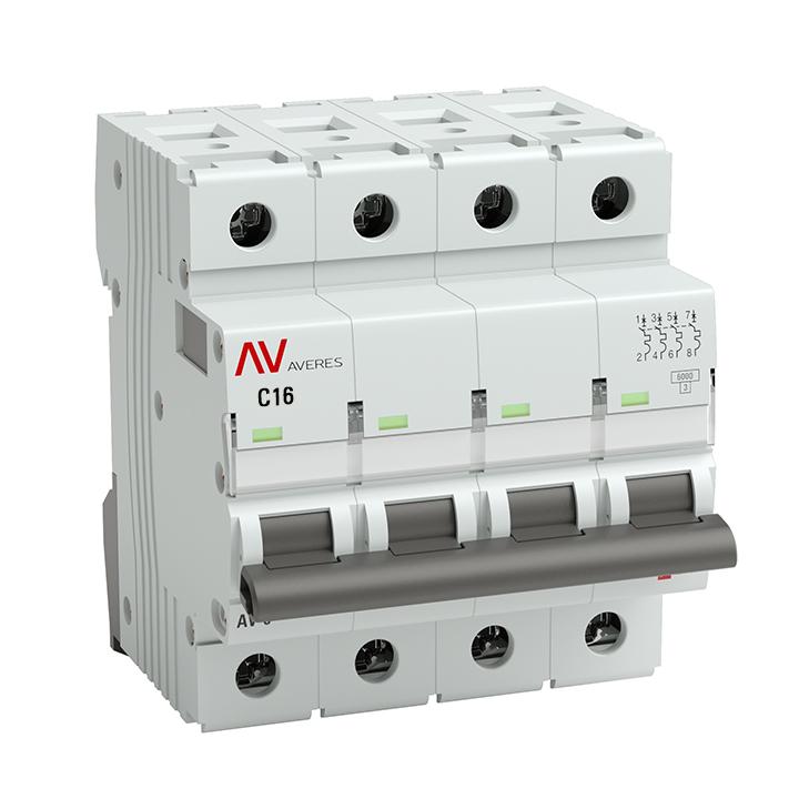 Выключатель автоматический AV-10 4P 16A (C) 10kA EKF AVERES