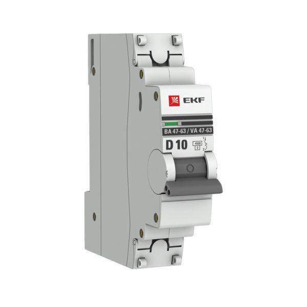 Автоматический выключатель 1P 10А (D) 4,5kA ВА 47-63 EKF PROxima