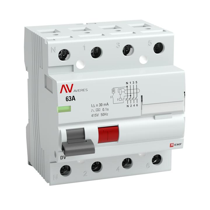 Устройство защитного отключения DV 4P  63А/100мА (G) EKF AVERES