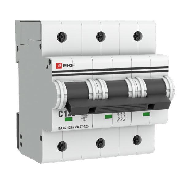 Автоматический выключатель 3P 100А (C) 15кА ВА 47-125 EKF PROxima