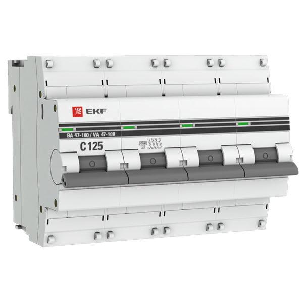 Автоматический выключатель 4P 100А (C) 10kA ВА 47-100 EKF PROxima